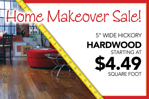 "5"" wide hickory hardwood starting at $4.49 sq.ft."
