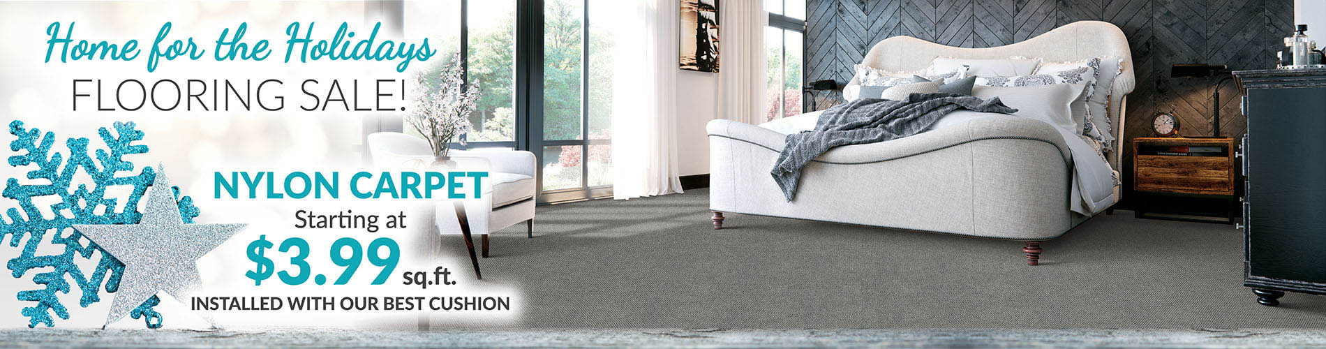 Nylon carpet installed with our best cushion starting at $3.99 sq.ft.