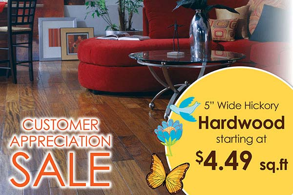 Wide Hickory Hardwood plank starting at $4.49 sq.ft. at Bell Carpet & Floors in Wichita