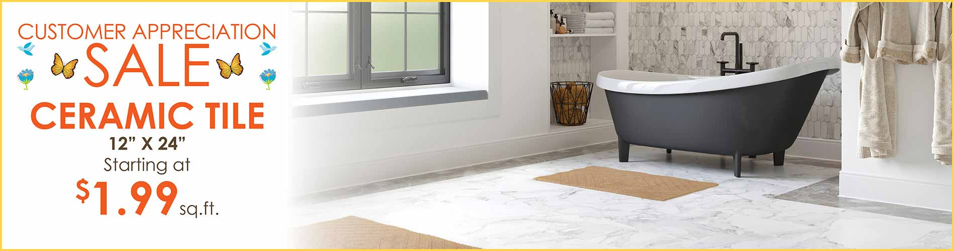 Ceramic Tile Flooring starting at $1.99 sq.ft. during our Customer Appreciation Sale in Wichita