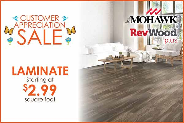 Laminate Flooring starting at $2.99 sq.ft. during our Customer Appreciation Sale in Wichita
