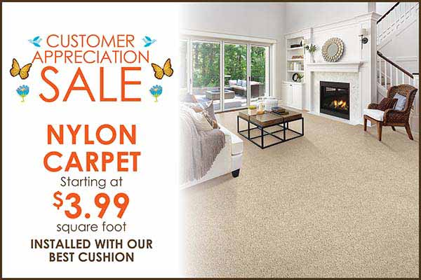 Nylon Carpet starting at $3.99 sq.ft. during our Customer Appreciation Flooring Sale in Wichita