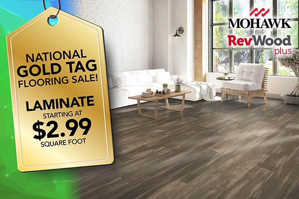 Mohawk RevWood plus Laminate flooring on sale starting at $2.99 square foot